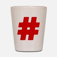 Red #Hashtag Shot Glass