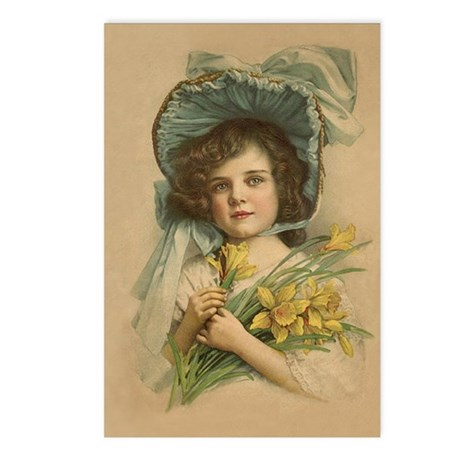 Victorian Girl with Daffodils Postcards (8)