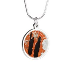Orange, Black, and White Abs Silver Round Necklace