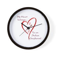 Italian Greyhound Heart Belongs Wall Clock