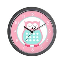 Sleeping Owl (Pink and Blue) Wall Clock