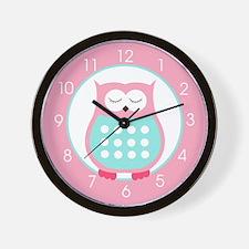 Sleeping Owl (Pink and Blue) Wall Clock