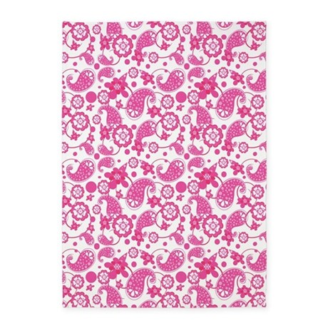 Hot Pink | White Paisley Pattern 5'x7'Area Rug