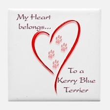 Kerry Blue Heart Belongs Tile Coaster