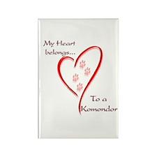 Komondor Heart Belongs Rectangle Magnet