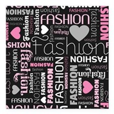 "Fashion Love  Square Car Magnet 3"" x 3"""