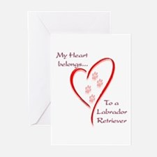 Lab Heart Belongs Greeting Cards (Pk of 10)