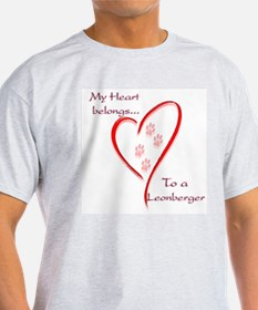 Leonberger Heart Belongs Ash Grey T-Shirt
