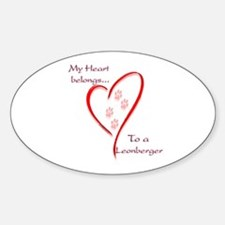 Leonberger Heart Belongs Oval Decal