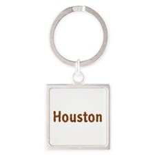 Houston Fall Leaves Square Keychain