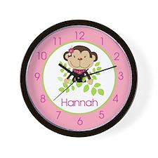 Monkarooni Monkey Clock (Pink) - Personalized Hann