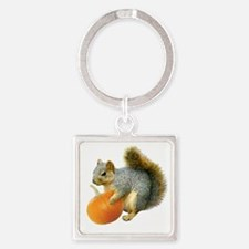 Squirrel with Pumpkin Square Keychain