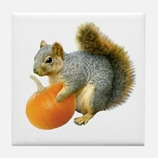 Squirrel with Pumpkin Tile Coaster