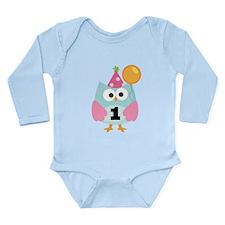 Babys 1st Birthday Owl Long Sleeve Infant Bodysuit