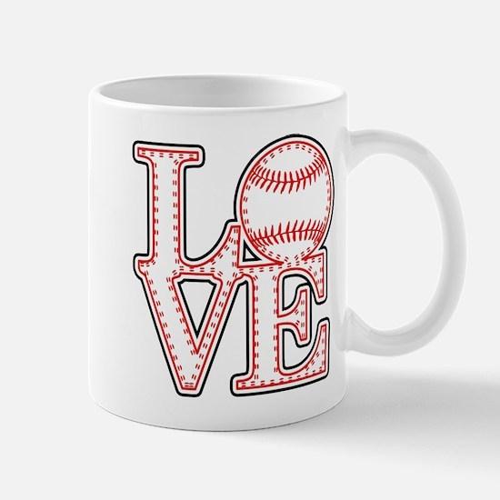 Love Baseball Laces Light Mugs