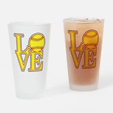 Love Softball Stitches Drinking Glass