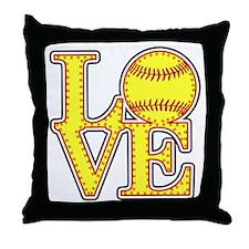 Love Softball Stitches Throw Pillow