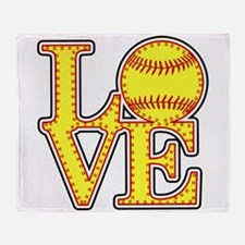 Love Softball Stitches Throw Blanket