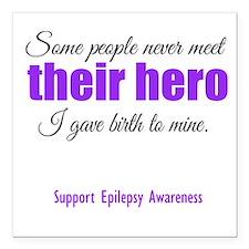 "Hero Epilepsy Square Car Magnet 3"" x 3"""