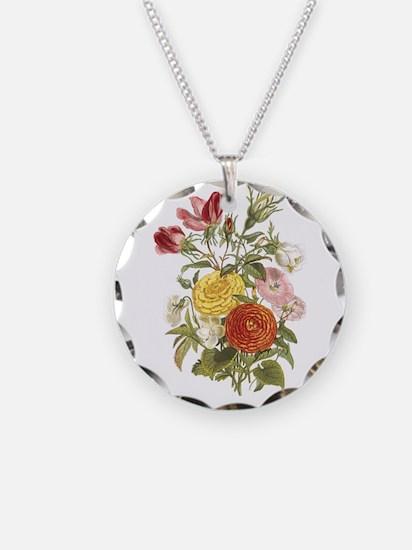 Violet, Rosebuds and Ranunculus Necklace