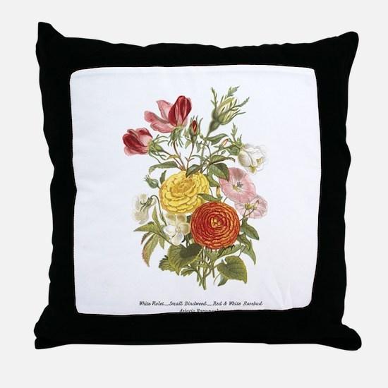 Violet, Rosebuds and Ranunculus Throw Pillow