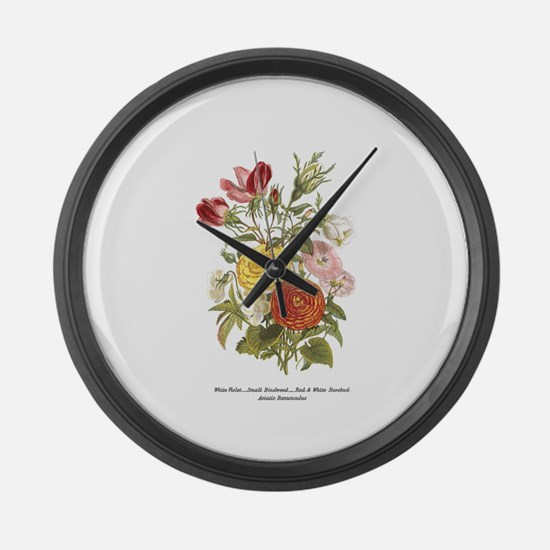 Violet, Rosebuds and Ranunculus Large Wall Clock