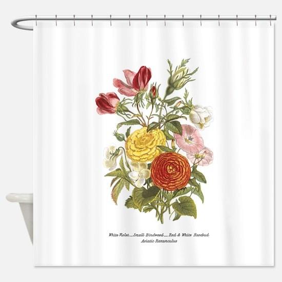 Violet, Rosebuds and Ranunculus Shower Curtain