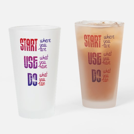 Start - Use - Do Drinking Glass