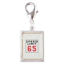 Speed Limit 65 Silver Portrait Charm