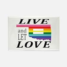 Oklahoma live let love blk font Magnets