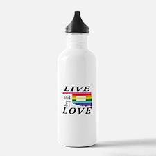 Oklahoma live let love blk font Water Bottle