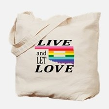 Oklahoma live let love blk font Tote Bag
