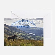 For godson, birthday card with horse Greeting Card