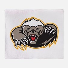 Honey Badger Mascot Claw Throw Blanket