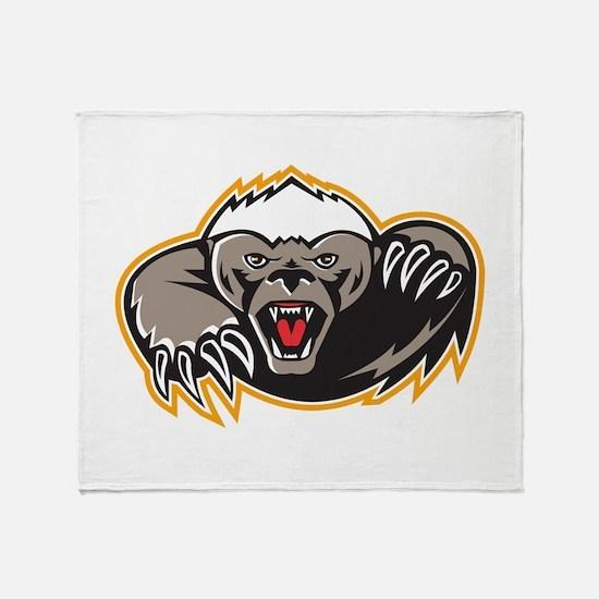 Honey Badger Mascot Claw Throw Blanket