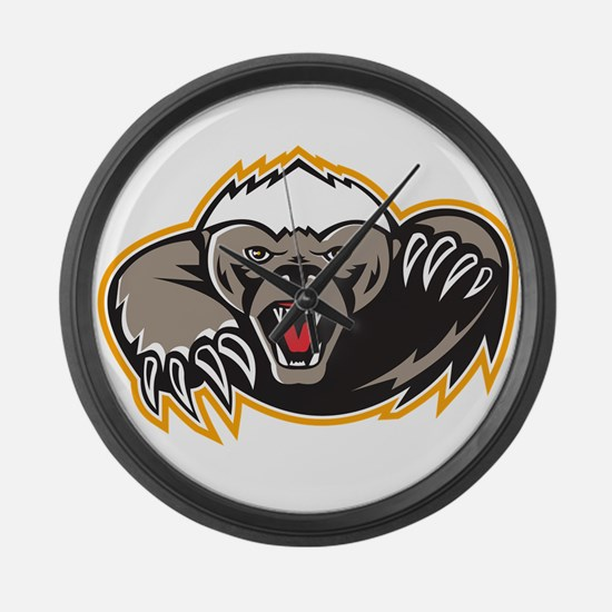 Honey Badger Mascot Claw Large Wall Clock