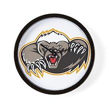 Honey Badger Mascot Claw Wall Clock