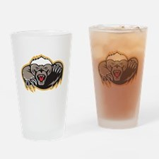 Honey Badger Mascot Claw Drinking Glass