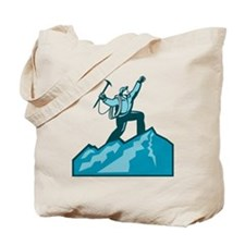 Mountain Climber Summit Retro Tote Bag