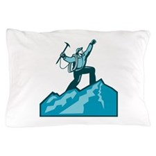 Mountain Climber Summit Retro Pillow Case