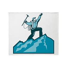Mountain Climber Summit Retro Throw Blanket