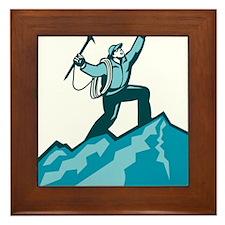 Mountain Climber Summit Retro Framed Tile