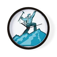 Mountain Climber Summit Retro Wall Clock