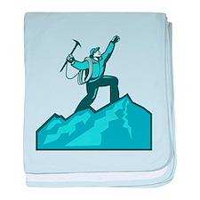 Mountain Climber Summit Retro baby blanket
