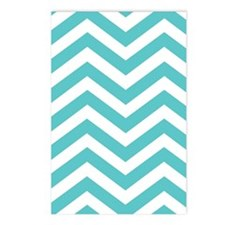 Aqua and White Chevron Postcards (Package of 8)