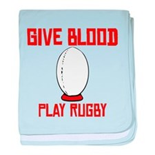 Give Blood Play Rugby baby blanket