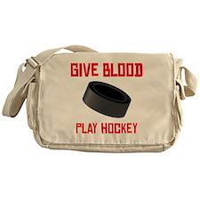 Give Blood Play Hockey Messenger Bag