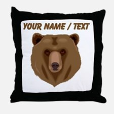 Custom Brown Grizzly Bear Throw Pillow