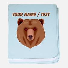 Custom Brown Grizzly Bear baby blanket