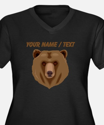 Custom Brown Grizzly Bear Plus Size T-Shirt